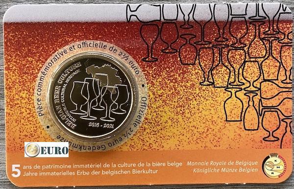 2,50 euro Belgie 2021 - Biercultuur 5 jaar erfgoed bier BU FDC Coincard FR