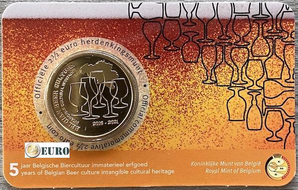 2,50 euro Belgie 2021 - Biercultuur 5 jaar erfgoed bier BU FDC Coincard NL