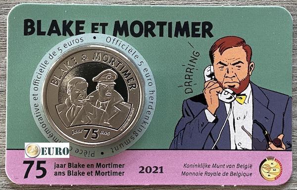 5 euro Belgie 2021 - Blake en Mortimer BU FDC Coincard Reliëf