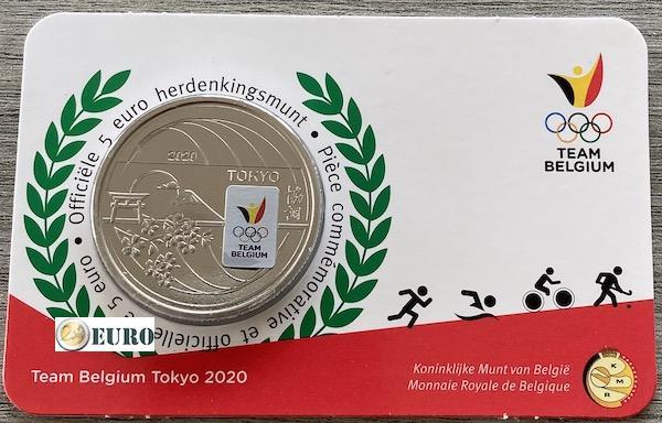 5 euro Belgie 2021 - Team Belgium Tokyo BU FDC Coincard Gekleurd