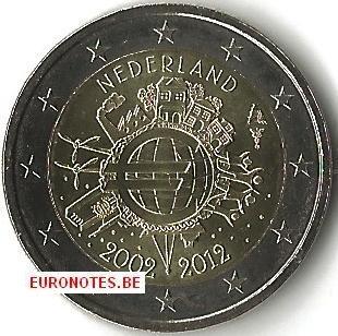 Pays-Bas 2012 - 2 euro 10 ans euro UNC