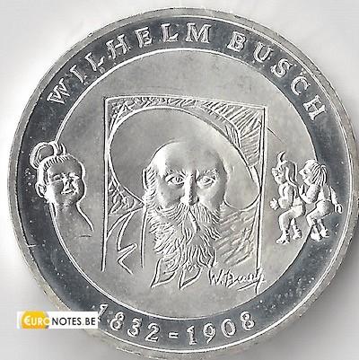 Duitsland 2008 - 10 euro D Wilhelm Busch BU FDC
