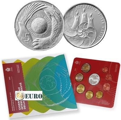 Euro set BU FDC San Marino 2021 + 5 euro Biodiversiteit