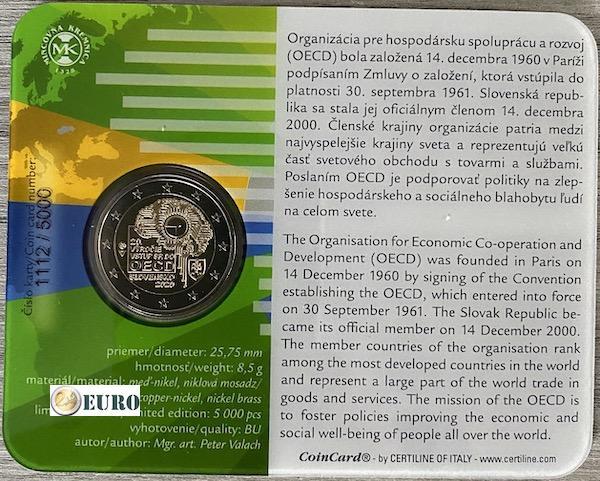 2 euro Slowakije 2020 - Toetreding tot OESO BU FDC Coincard