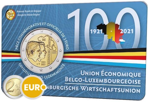 2 euro Belgie 2021 - 100 jaar BLEU BU FDC Coincard FR