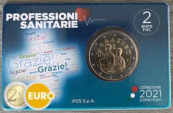 2 euros Italie 2021 - Grazie Professions de la santé BU FDC Coincard