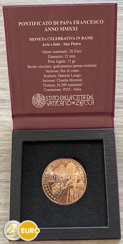20 euros Vatican 2021 - Saint Pierre UNC cuivre