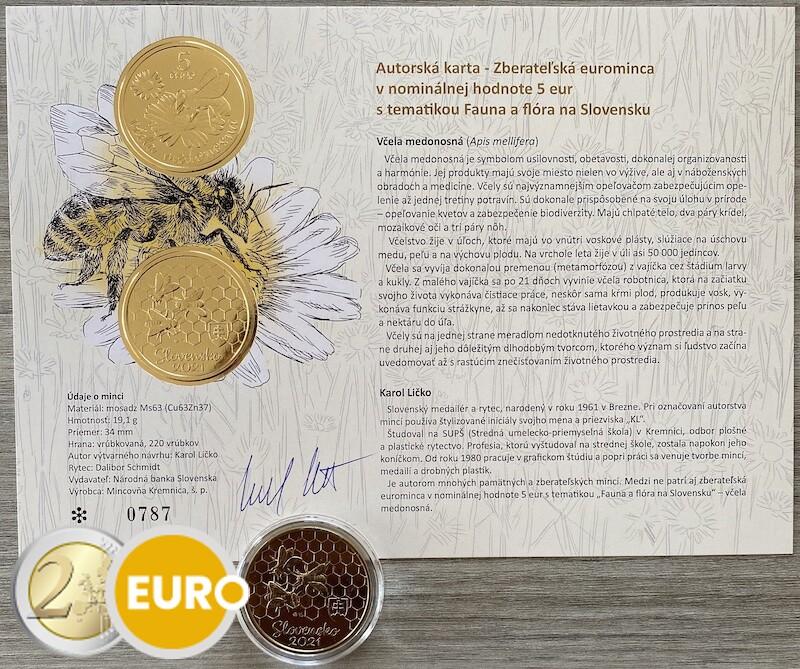 5 euro Slowakije 2021 - Honingbij UNC met echtheidscertificaat