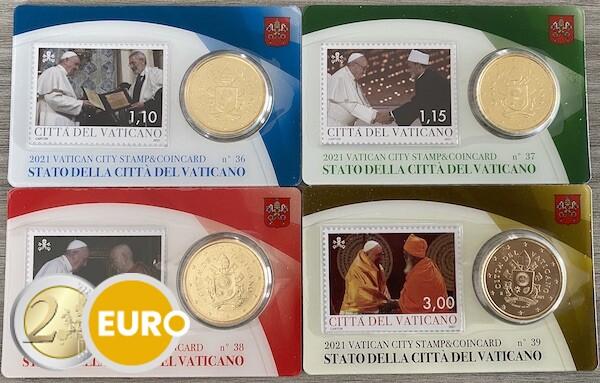 50 cent en postzegel coincard Vaticaan 2021 - nr 36 + 37 + 38 + 39